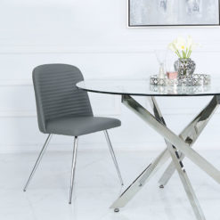 Grey Faux Leather Dining Chair With Chrome Legs