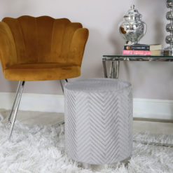 Grey Patterned Velvet And Chrome Round Footstool Stool Ottoman
