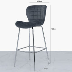 Grey Velvet And Chrome Curve Bar Kitchen Stool