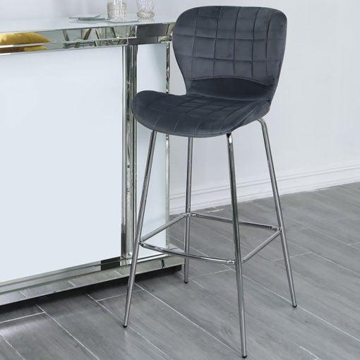 Grey Velvet And Chrome Curve Bar Kitchen Stool