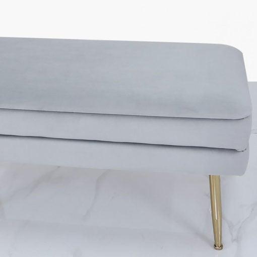 Grey Velvet And Gold Metal Storage Ottoman Bench