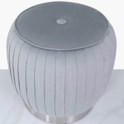 Grey Velvet And Stainless Steel Round Footstool Ottoman