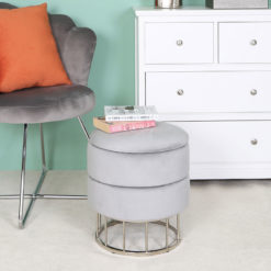 Grey Velvet And Stainless Steel Round Storage Ottoman Stool