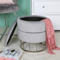 Grey Velvet And Stainless Steel Round Storage Ottoman Stool