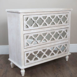 Hampton Mirrored 3 Drawer Chest Of Drawers Sideboard