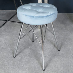 Light Blue Velvet Tufted Stool Footstool With Chrome Legs