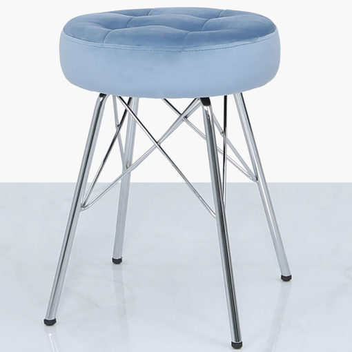 Light Blue Velvet Tufted Stool Footstool With Chrome Legs