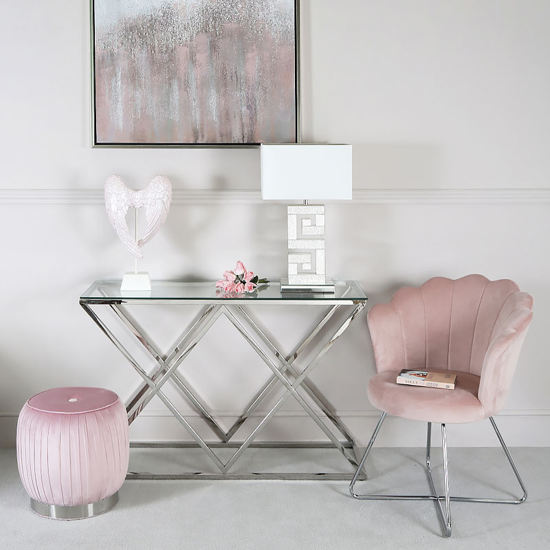 Light Pink Velvet Shell Back Dining Chair Armchair With ...
