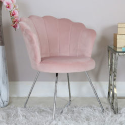 Light Pink Velvet Shell Back Dining Chair Armchair With Chrome Legs
