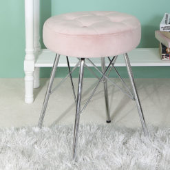 Light Pink Velvet Tufted Stool Footstool With Chrome Legs