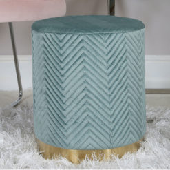 Mint Green Patterned Velvet And Gold Metal Round Footstool Ottoman