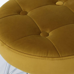 Mustard Velvet Tufted Stool Footstool With Chrome Legs