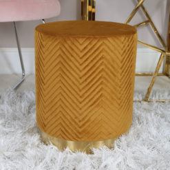 Mustard Yellow Patterned Velvet And Gold Metal Round Footstool Ottoman
