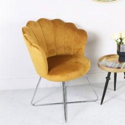 Mustard Yellow Velvet Shell Back Dining Chair With Chrome Legs