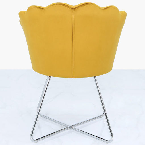 Mustard Yellow Velvet Shell Back Dining Chair With Chrome Legs
