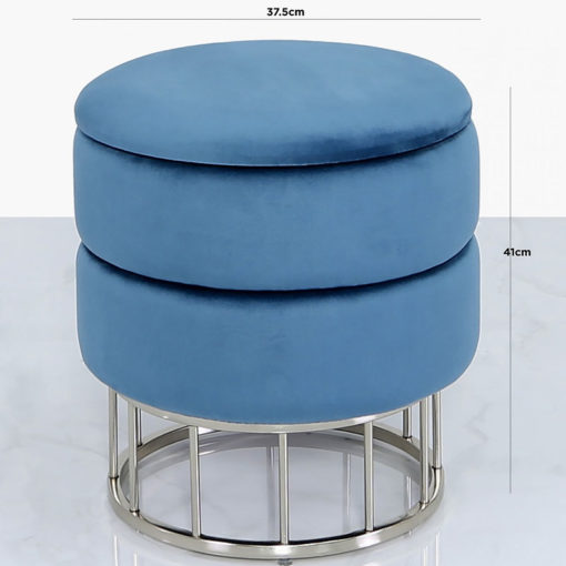 Prussian Blue Velvet And Stainless Steel Round Storage Ottoman Stool