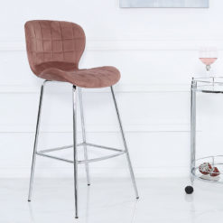 Rose Pink Velvet And Chrome Curve Bar Kitchen Stool