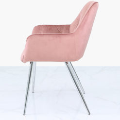 Rose Pink Velvet And Chrome Dining Chair With Tufted Buttons