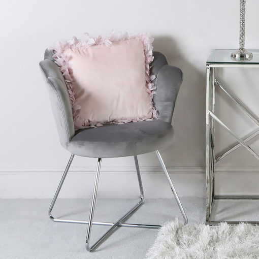 Silver Grey Velvet Shell Back Dining Chair Armchair With Chrome Legs