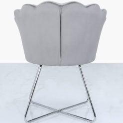 Silver Velvet Shell Back Dining Chair Armchair With Chrome Legs