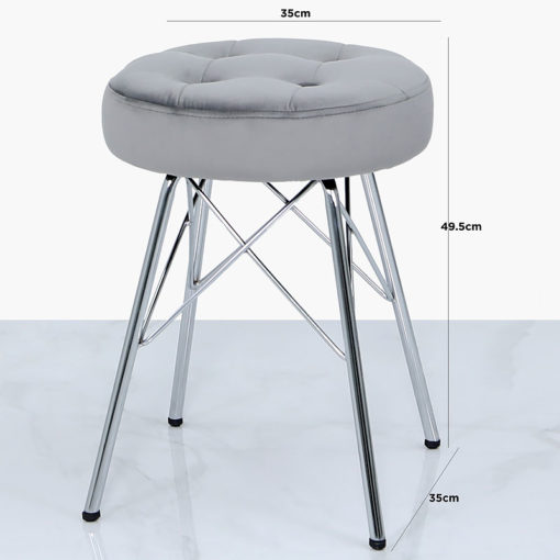 Silver Velvet Tufted Stool Footstool With Chrome Legs