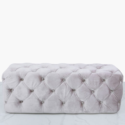 Soft Pink Velvet Deeply Padded Bench Ottoman With Tufted Buttons
