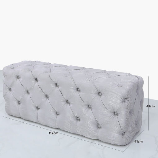 Soft Silver Fabric Deeply Padded Bench Ottoman With Tufted Buttons