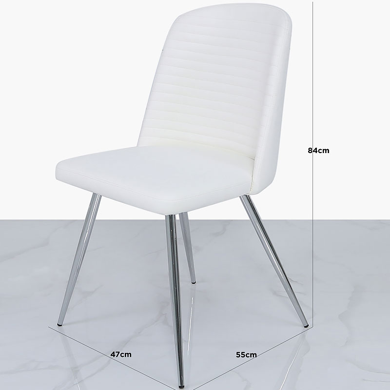 White Faux Leather Dining Chair With Chrome Legs Picture Perfect Home