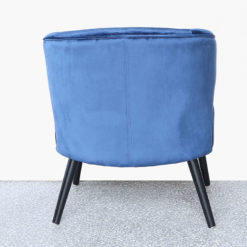 Blue Wingback Quilted Velvet Easy Chair Armchair