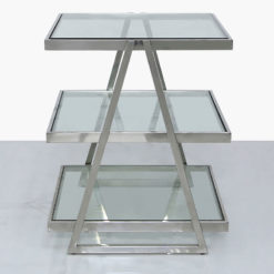 Chrome And Glass 3 Tier End Table Side Table