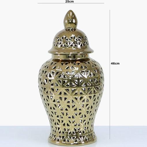 Gold Ceramic Ginger Jar Vase Home Decoration With Domed Lid 46cm
