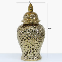 Gold Ceramic Ginger Jar Vase Home Decoration With Domed Lid 64cm