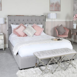 Grey Linen King Size Bed With A Chrome Frame And Linen Upholstery
