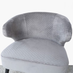 Grey Wingback Quilted Velvet Easy Chair Armchair