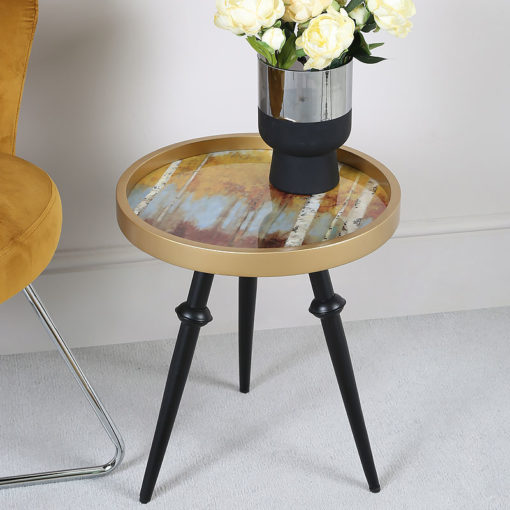 Mustard Yellow And Gold Abstract Wood Side Table End Table