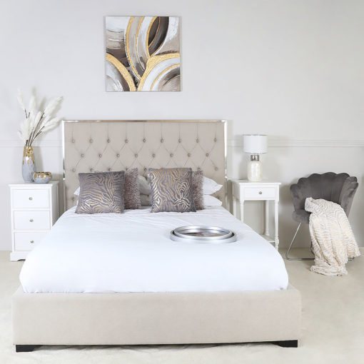 Natural Linen King Size Bed With A Chrome Frame And Linen Upholstery