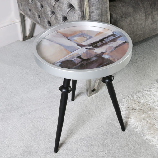 Nude Pink And Silver Abstract Wood Side Table End Table