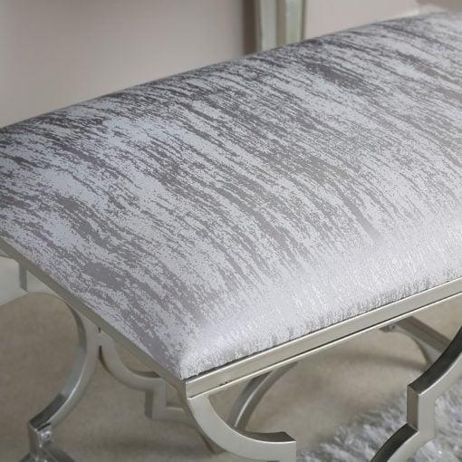 Sahara Marrakech Moroccan Silver Chrome And Velvet Bedroom Stool