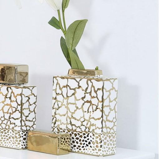 White And Gold Ceramic Ginger Jar Vase Home Decoration 24cm