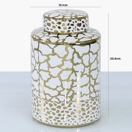 White And Gold Round Ceramic Ginger Jar Vase Home Decoration 20cm