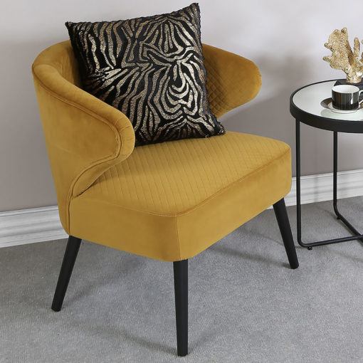 Yellow Wingback Quilted Velvet Easy Chair Armchair