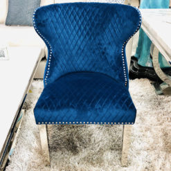 Diana Wide Blue Velvet And Chrome Dining Chair With Lion Ring Knocker