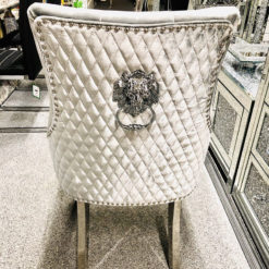 Camilla HQ Metallic Silver Velvet And Chrome Dining Chair With Lion Ring Knocker