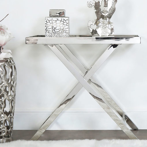 Clarissa Premium Stainless Steel And Glass Console Table Hallway Table