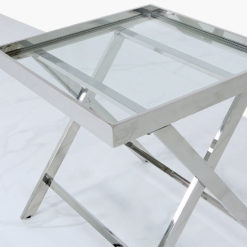 Clarissa Premium Stainless Steel And Glass Side Table End Table