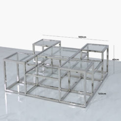 Clarissa Premium Stainless Steel And Glass Tiered Coffee Lounge Table