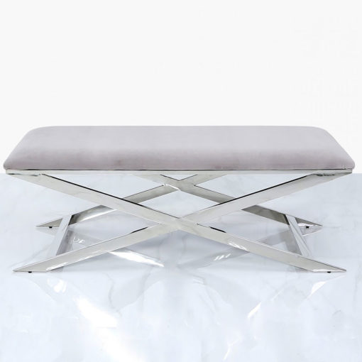Clarissa Premium Stainless Steel And Grey Fabric Ottoman Bench