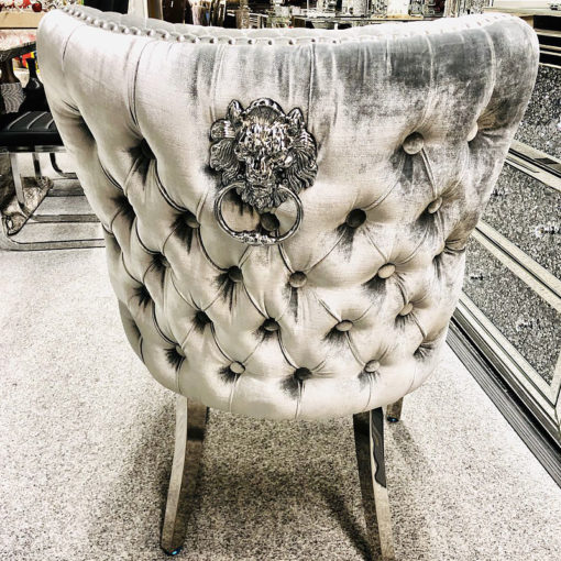 Diana Wide HQ Metallic Silver Velvet And Chrome Dining Chair With Lion Ring Knocker