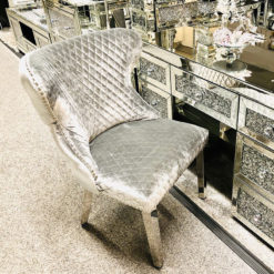 Diana Wide HQ Brushed Silver Velvet And Chrome Dining Chair With Lion Ring Knocker