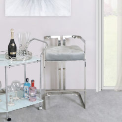 Harper Stainless Steel Bar Stool With Grey Velvet Seat